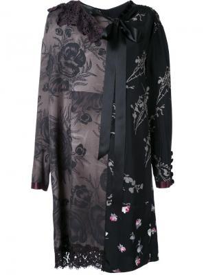 Лоскутное платье шифт с цветочным узором Marc Jacobs. Цвет: чёрный