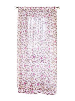 Штора Луговые цветы 200*275 IZKOMODA. Цвет: темно-фиолетовый, фуксия, белый