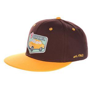 Бейсболка с прямым козырьком  Авто Снэп Brown/Yellow Запорожец. Цвет: коричневый,оранжевый