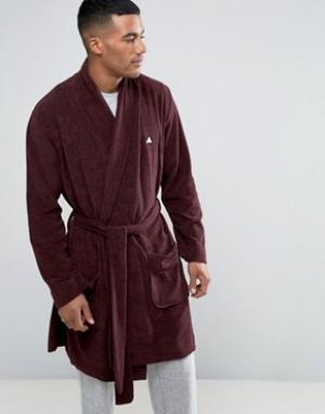 ASOS Махровый халат с логотипом. Цвет: красный