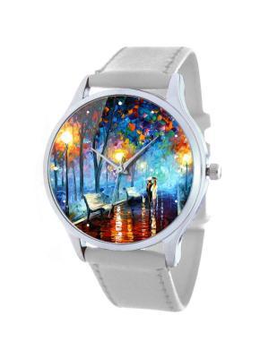 Дизайнерские часы Ночная Прогулка Tina Bolotina. Цвет: серо-голубой, белый, желтый