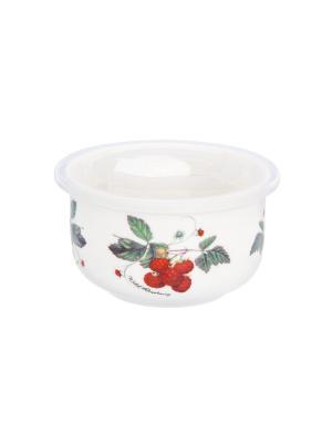 Салатник с пластиковой крышкой Ягода - малина Elan Gallery. Цвет: белый, зеленый, красный