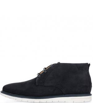 Темно-синие ботинки дезерты из нубука Tommy Hilfiger. Цвет: синий