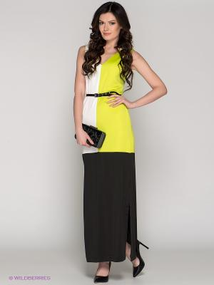 Платье BOVONA. Цвет: салатовый, белый, черный