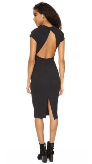 Миди-платье Heat Wave из ткани в рубчик Free People. Цвет: черный меланж