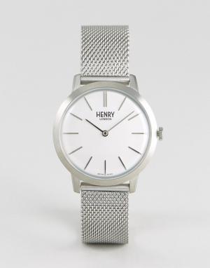 Henry London Серебристые часы с сетчатым ремешком 34 мм. Цвет: серебряный