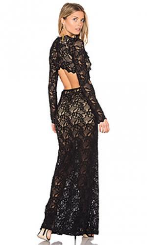 Ажурное вечернее платье с вырезом Nightcap. Цвет: черный