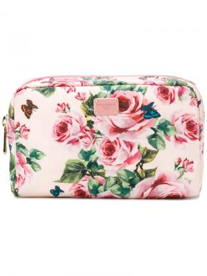 Косметичка с принтом роз Dolce & Gabbana. Цвет: розовый и фиолетовый