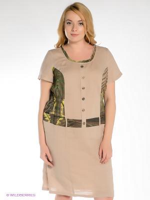 Платье Gemko plus size. Цвет: бежевый, зеленый