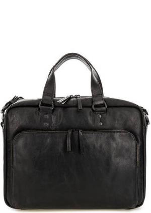 Вместительная кожаная сумка с карманами aunts & uncles. Цвет: черный