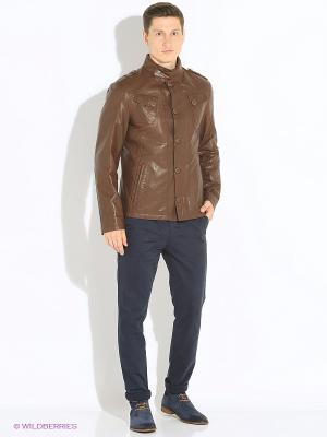 Кожаная куртка VESIVIO. Цвет: коричневый