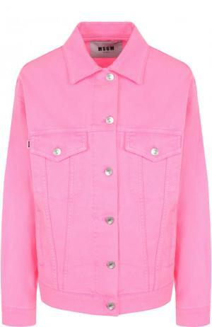 Джинсовая куртка свободного кроя с декорированной спинкой MSGM. Цвет: розовый