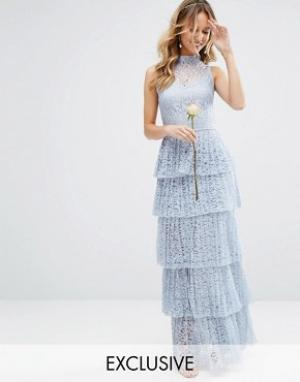 Body Frock Кружевное платье макси с плиссированной ярусной юбкой Bodyfrock. Цвет: розовый