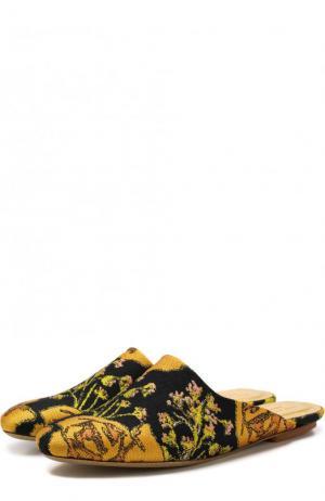 Текстильные сабо с вышивкой Dries Van Noten. Цвет: золотой