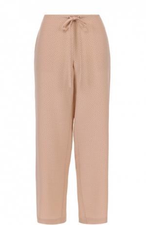 Шелковые брюки в горох пижамном стиле Theory. Цвет: розовый