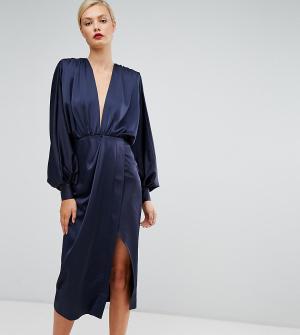 ASOS Tall Платье миди с длинными рукавами. Цвет: синий
