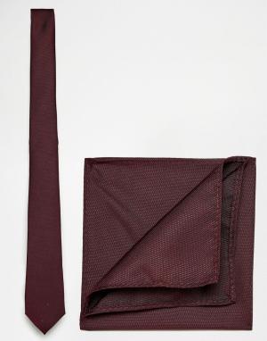 ASOS Галстук и платок для пиджака Burgundy. Цвет: красный