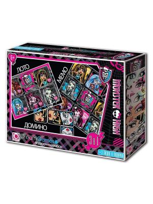 Monster High. Подарочный набор 3 в 1: Лото, Мемо, Домино. подарок: мини-пазла.. High. Цвет: черный, голубой, розовый