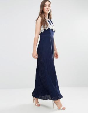 Darling Платье макси с плиссированной юбкой и ажурным лифом Melissa. Цвет: темно-синий