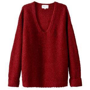 Пуловер из плотного трикотажа с V-образным вырезом SUD EXPRESS. Цвет: бордовый