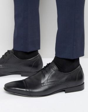 Frank Wright Черные оксфордские туфли со вставкой на носке. Цвет: черный