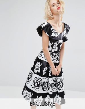 Horrockses Платье миди для выпускного Gabriella. Цвет: мульти