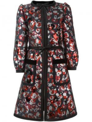 Пальто с пайетками Warped Flower Marc Jacobs. Цвет: красный