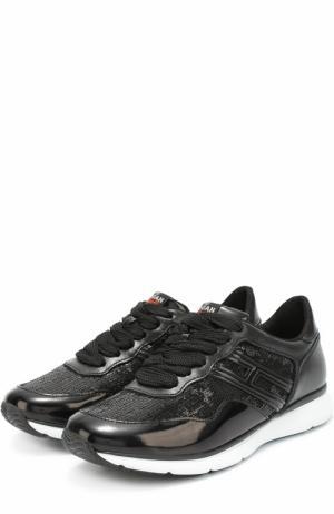 Комбинированные кроссовки с пайетками Hogan. Цвет: черный
