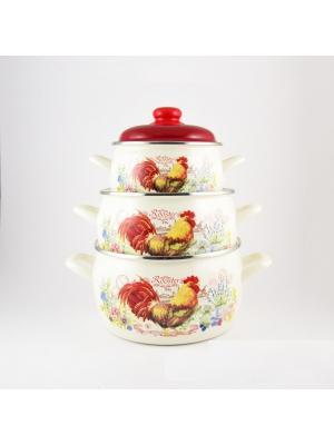 Набор посуды 6 предметов (2,2л, 4,0л, 5,3л) мет.руч. METROT. Цвет: красный,желтый,белый