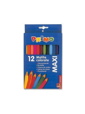 Цветные карандаши дер. Макси 12 цв. Primo. Цвет: синий