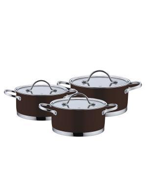 Набор кухонной посуды, кастрюли 2,1/3,0л/5,2л BOHMANN. Цвет: коричневый