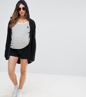 ASOS Maternity Черные выбеленные джинсовые шорты. Цвет: черный