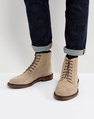 WALK LONDON Замшевые ботинки броги Darcy. Цвет: серый