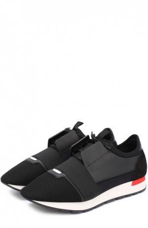 Текстильные кроссовки с отделкой из натуральной кожи Balenciaga. Цвет: черный