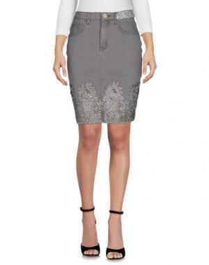 Джинсовая юбка DESIGUAL. Цвет: серый