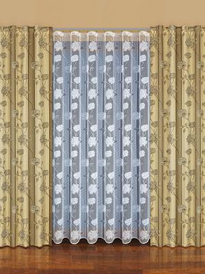 Комплект штор Haft. Цвет: серо-зеленый, белый, коричневый