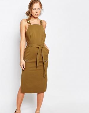 C/meo Collective Платье цвета хаки в стиле милитари. Цвет: зеленый