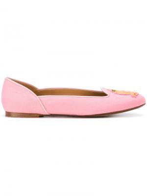 Слиперы с логотипом Polo Ralph Lauren. Цвет: розовый и фиолетовый