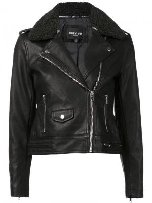 Байкерская куртка Obey. Цвет: чёрный