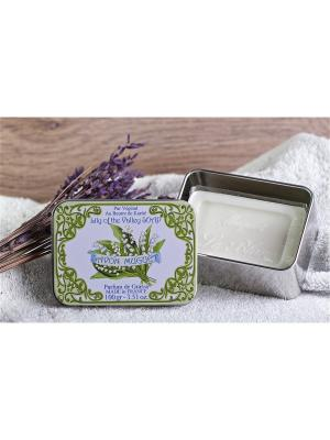 Косметическое мыло с ароматом трав в жестяной коробочке Ландыш Le Blanc.. Цвет: желтый