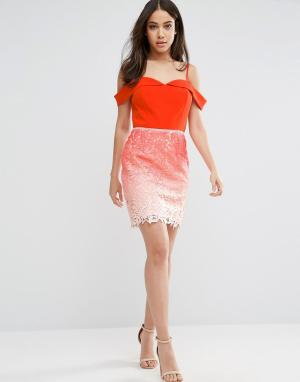 Adelyn Rae Платье с кружевной юбкой и эффектом омбре. Цвет: оранжевый
