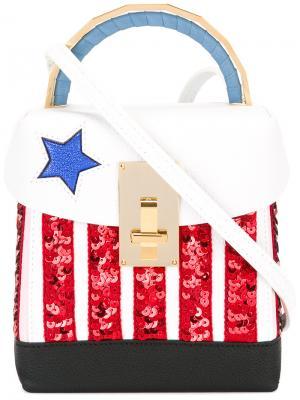 Небольшая сумка-тоут с пайетками The Volon. Цвет: белый