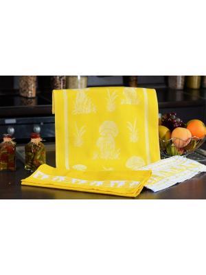 Набор кухонных полотенец ГРИБЫ жёлтый (2х3шт.) 40х60 TOALLA. Цвет: желтый