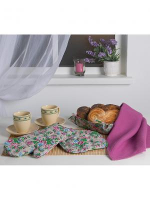 Набор текстиля для кухни: рукавичка, прихватка, полотенце Традиция. Цвет: лазурный, темно-бежевый, фуксия