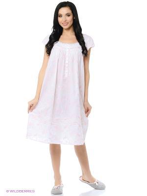Ночная сорочка Eileen West. Цвет: белый, розовый