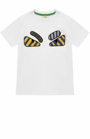 Хлопковая футболка с аппликациями Fendi Roma. Цвет: белый