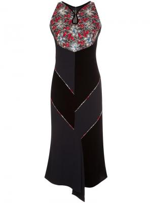 Платье с цветочным принтом Roland Mouret. Цвет: чёрный