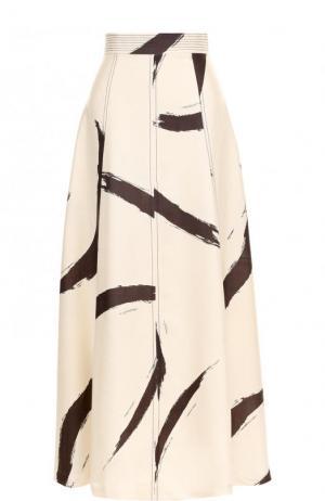 Шелковая юбка-макси с широким поясом и принтом Zimmermann. Цвет: бежевый