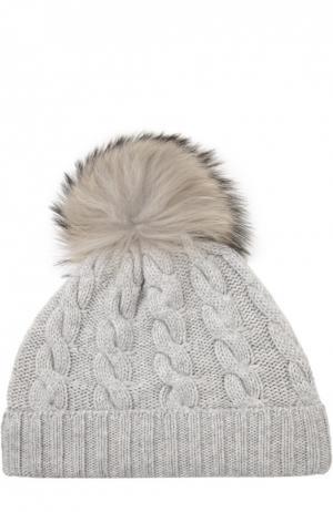Кашемировая шапка с меховым помпоном Kashja` Cashmere. Цвет: светло-серый