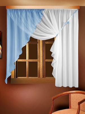Комплект штор для кухни ZLATA KORUNKA. Цвет: белый, голубой